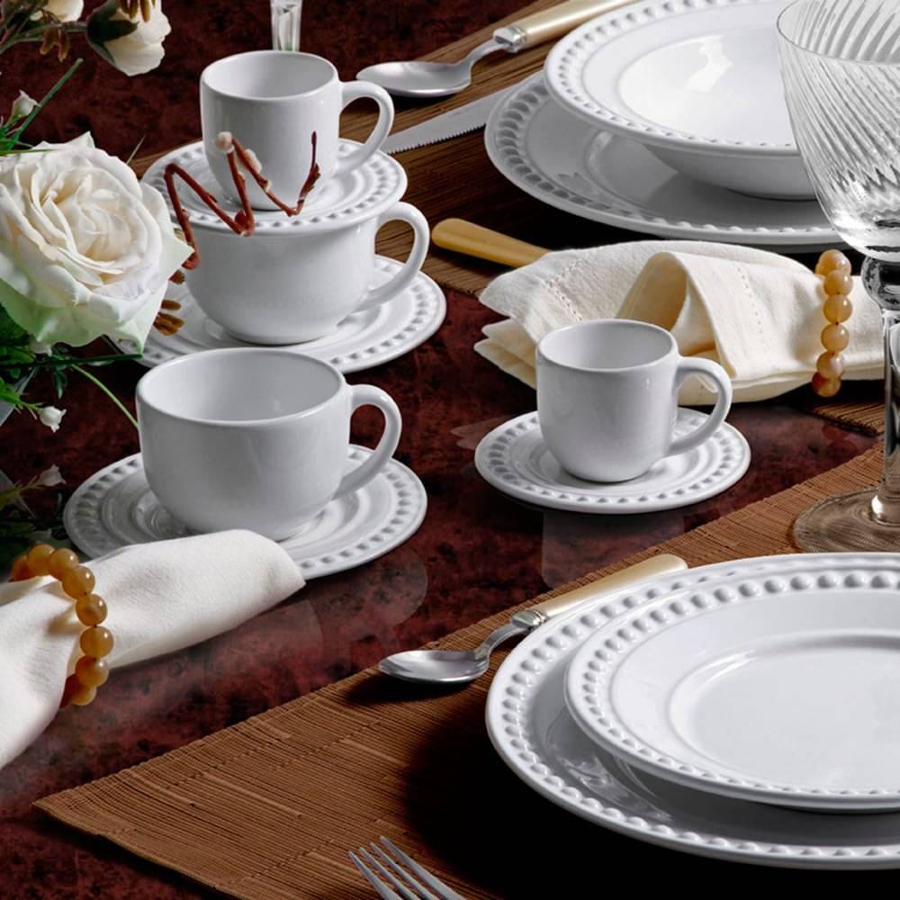Jogo De Jantar Atenas Branco 42 Peças Em Cerâmica Compre