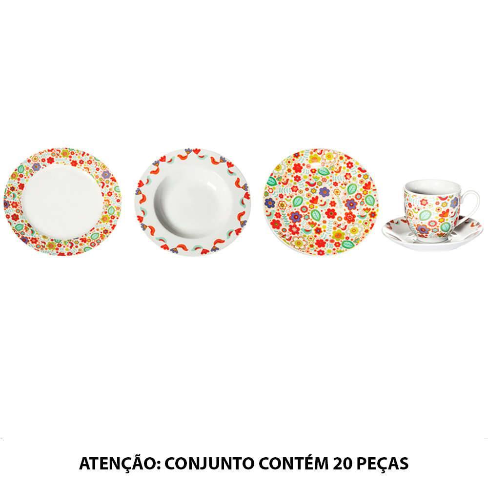 Jogo de Jantar Birds Colorido - 20 Peças - em Porcelana - Urban