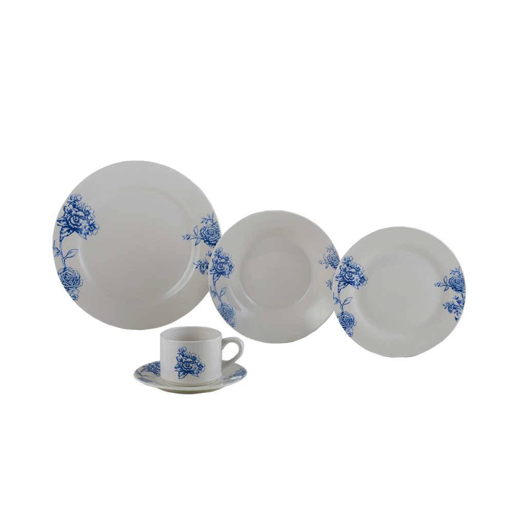 Jogo de Jantar Blue Flowers - 20 Peças - em Porcelana - Lyor Classic - 27 cm
