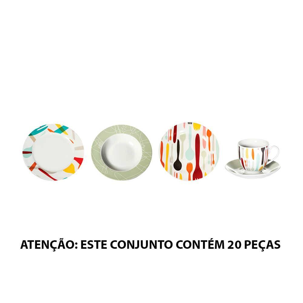 Jogo de Jantar Cutlery Colorido - 20 Peças - em Porcelana - Urban