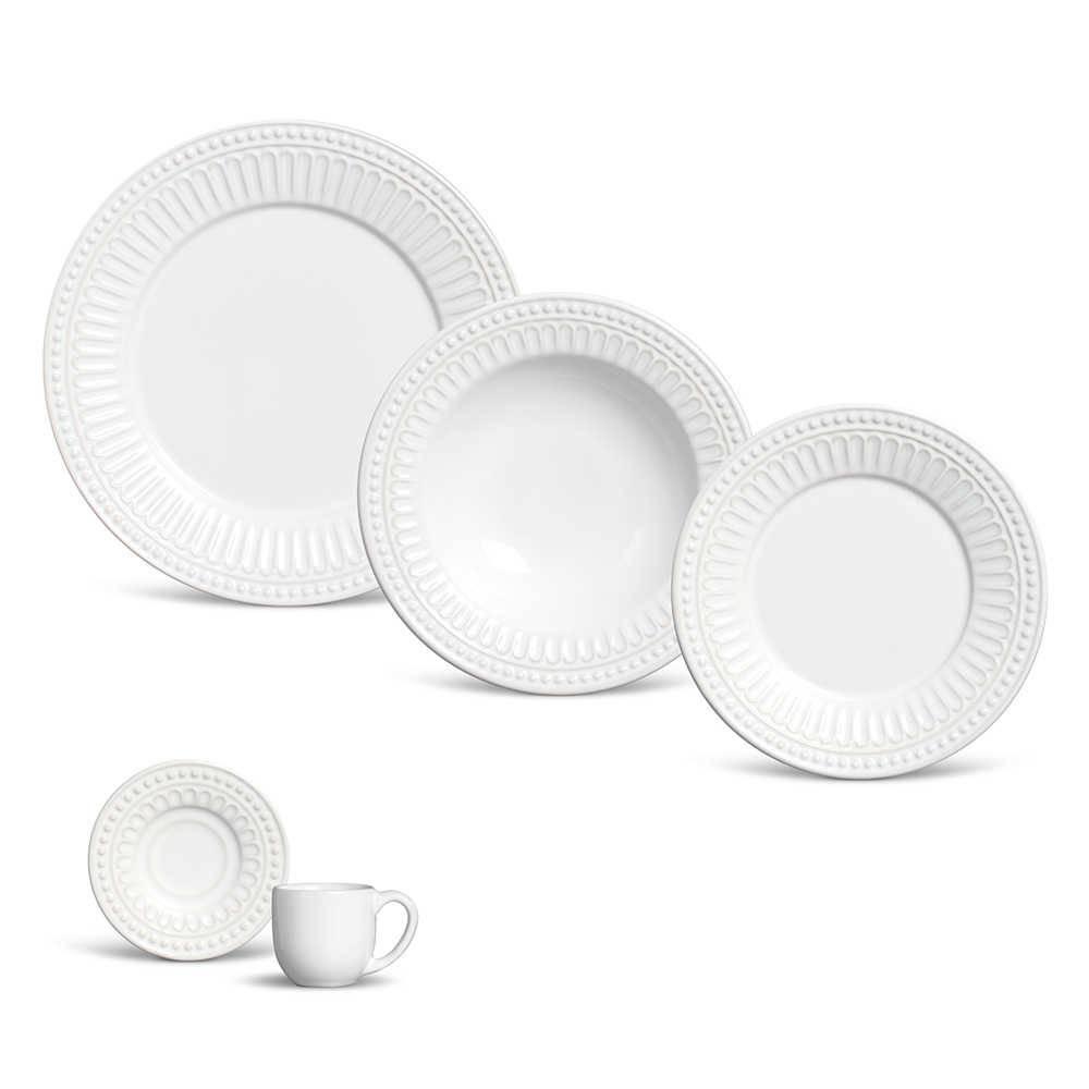 Jogo de Jantar Pérgamo Branco - 20 Peças - em Cerâmica - Porto Brasil