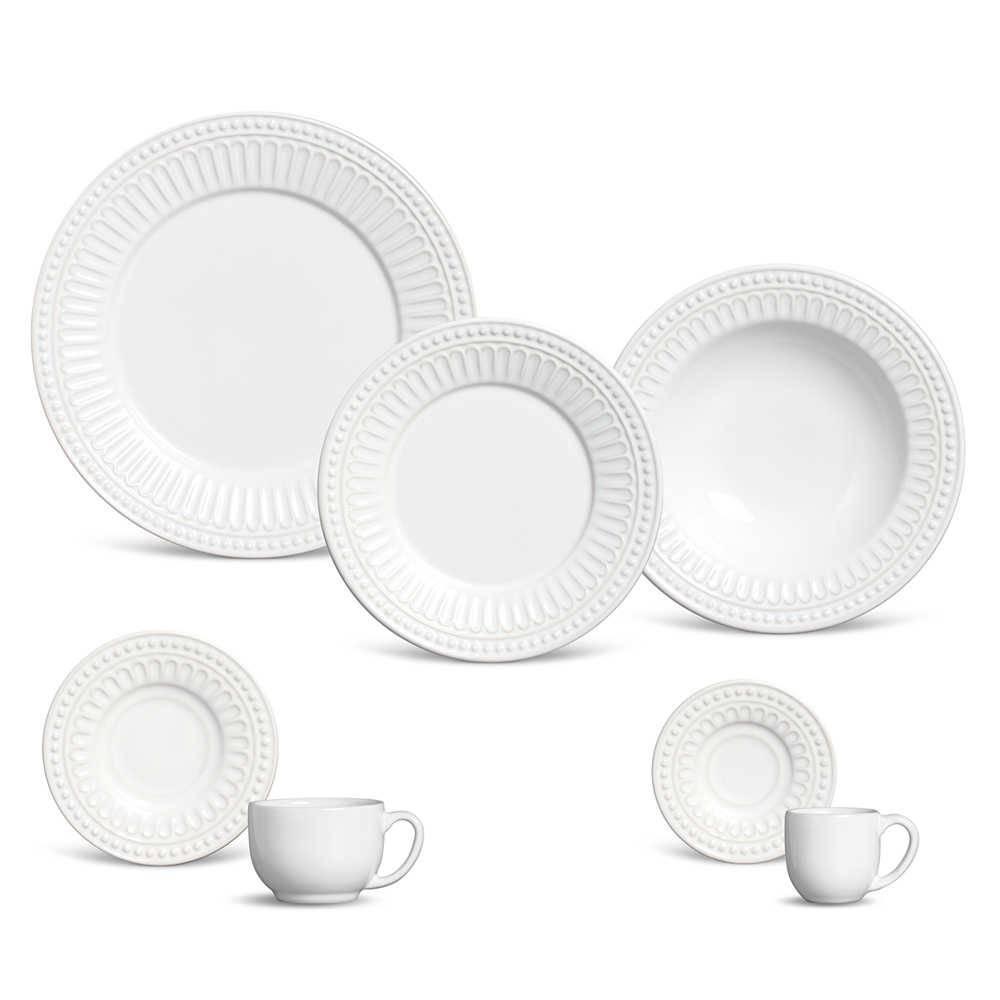 Jogo de Jantar Pérgamo Branco - 42 Peças - em Cerâmica - Porto Brasil