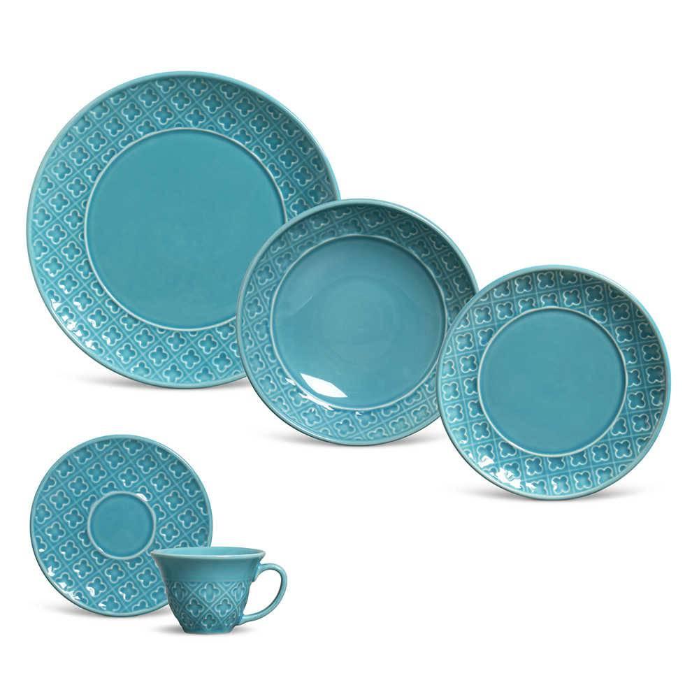 Jogo de Jantar Relief Azul Poppy - 30 Peças - em Cerâmica - Porto Brasil