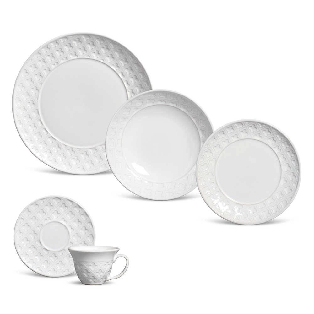Jogo de Jantar Relief Branco - 20 Peças - em Cerâmica - Porto Brasil