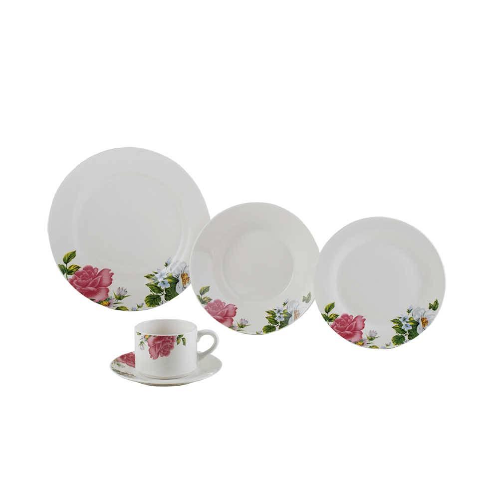 Jogo de Jantar Roses - 20 Peças - em Porcelana - Lyor Classic - 27 cm