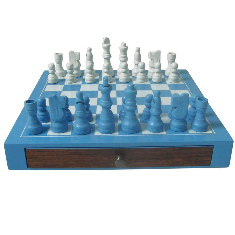 Jogo de Xadrez Deluxe Azul em Madeira - Urban - 25x25 cm