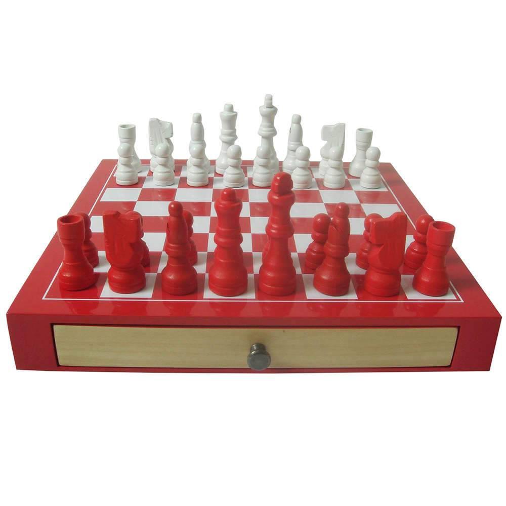 Jogo de Xadrez Deluxe Vermelho em Madeira - Urban - 25x25 cm