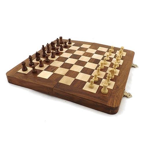 Jogo de Xadrez Magnetic Oldway Médio - Madeira / Forro Verde - Peças com Imã - 25x25 cm