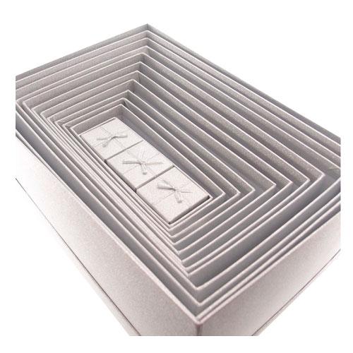 Kit 15 Caixas Prata com Glitter - 34x24 cm