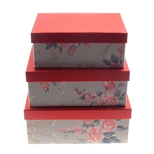 Kit 3 Caixas Flores Vermelhas - 25x15 cm