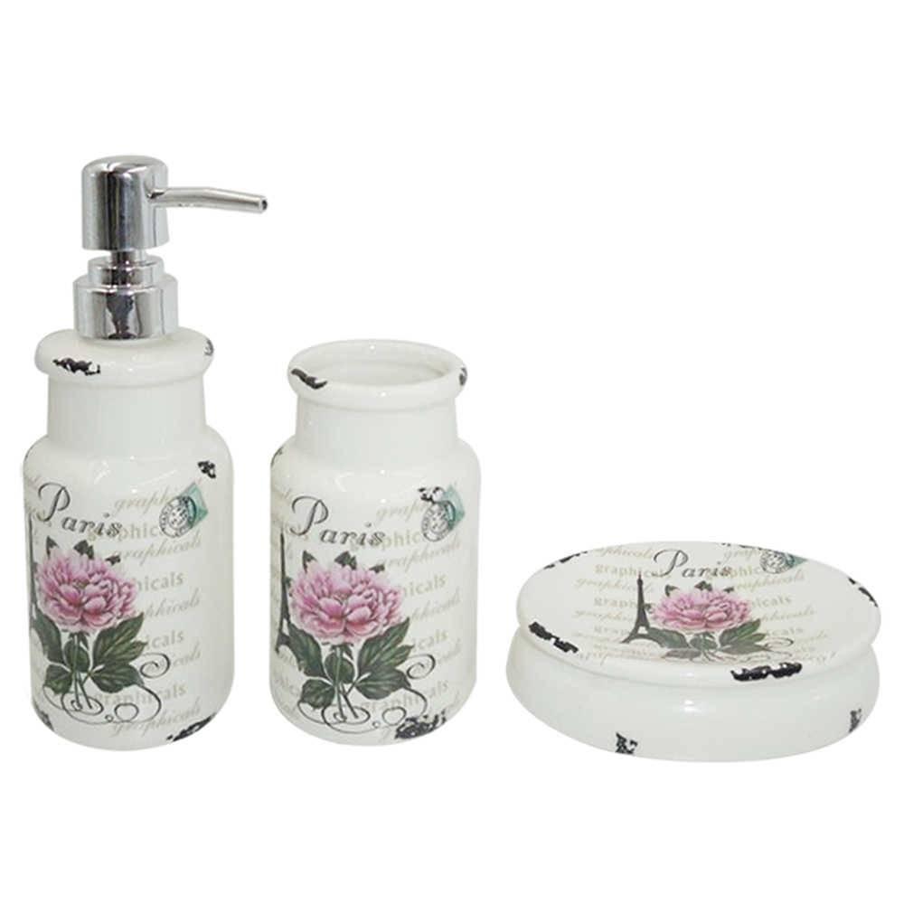 Kit 3 peças para Banheiro Paris Flower Rosa e Branco em Cerâmica - Urban - 18,5 x 6,8