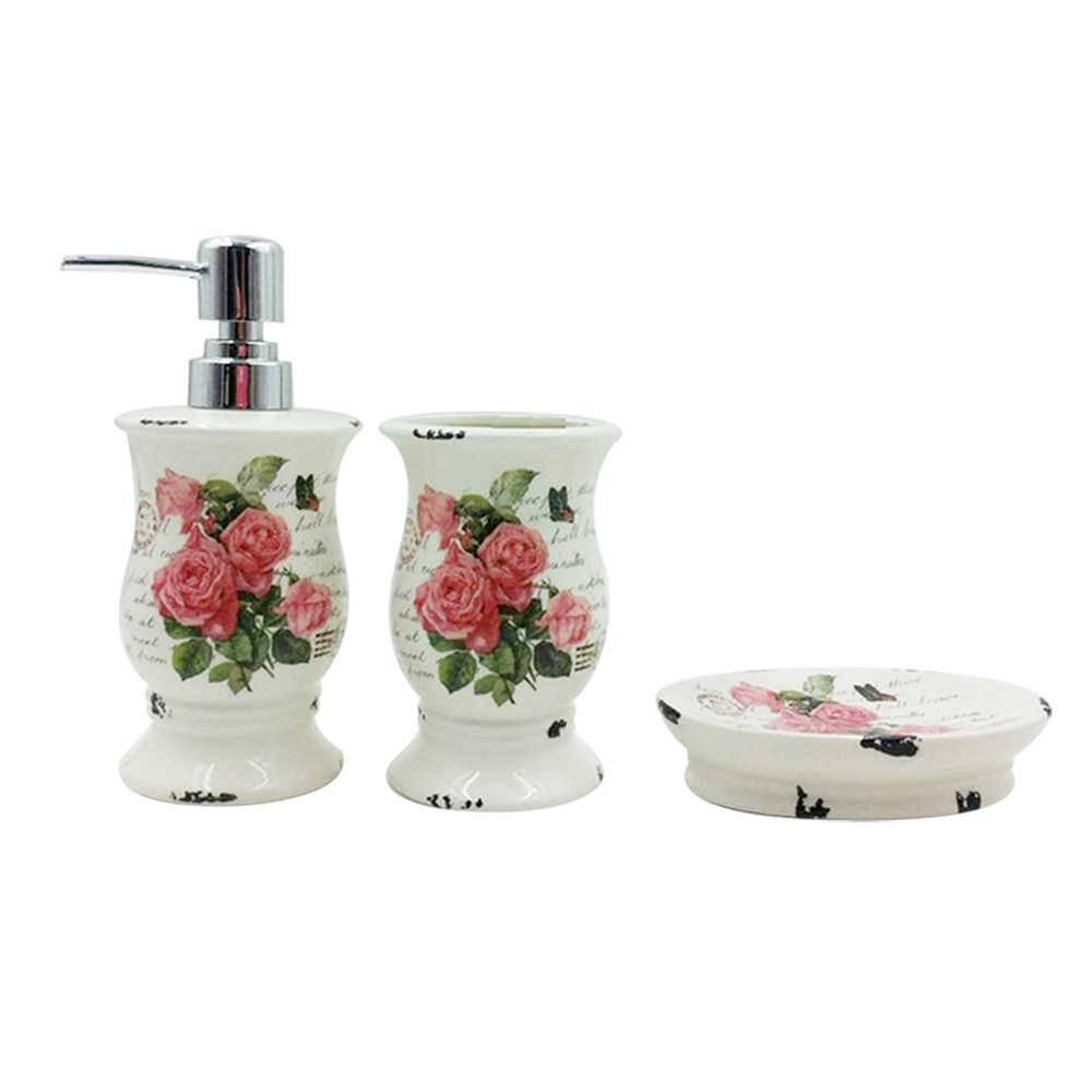 Kit 3 Peças para Banheiro Roses and Letters Behind Branco em Cerâmica - Urban - 18,5x6,8 cm