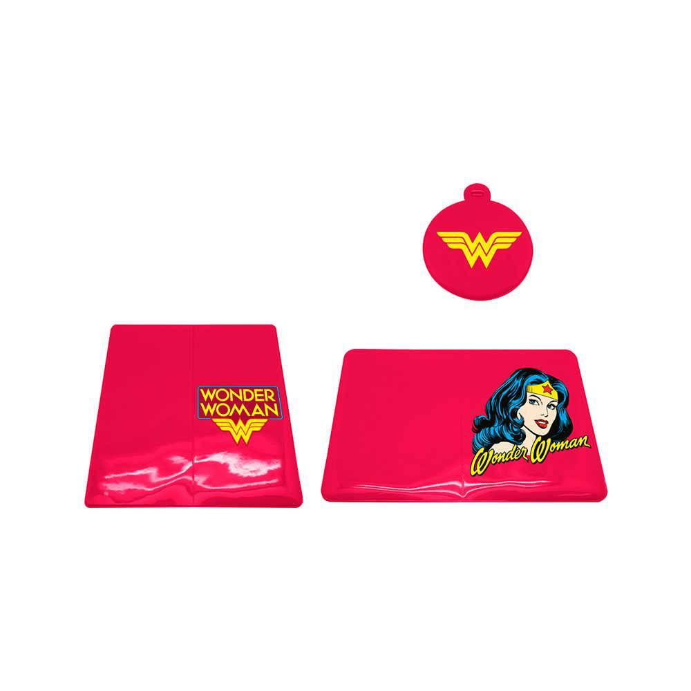 Kit 3 Peças para Viagem DC Comics Wonder Woman Rosa em PVC - Urban