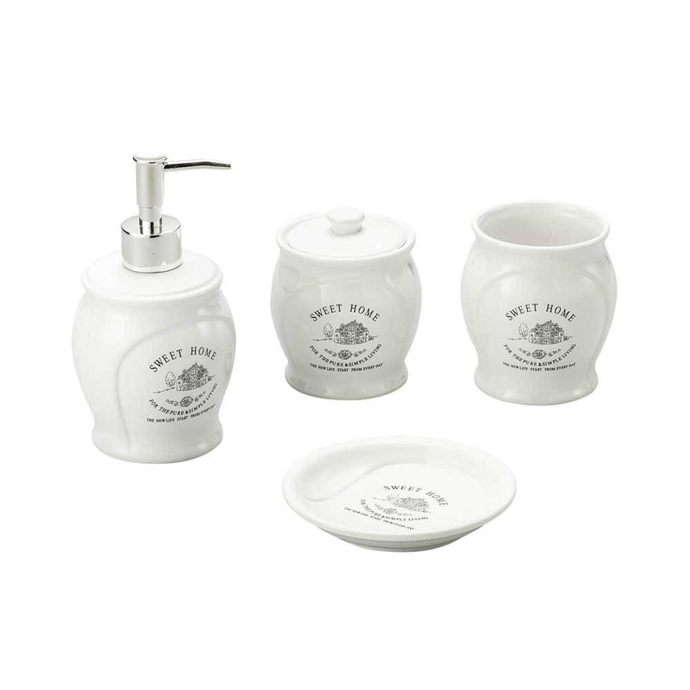 Kit 4 Peças Para Banheiro Sweet Home Em Porcelana Lyor Classic