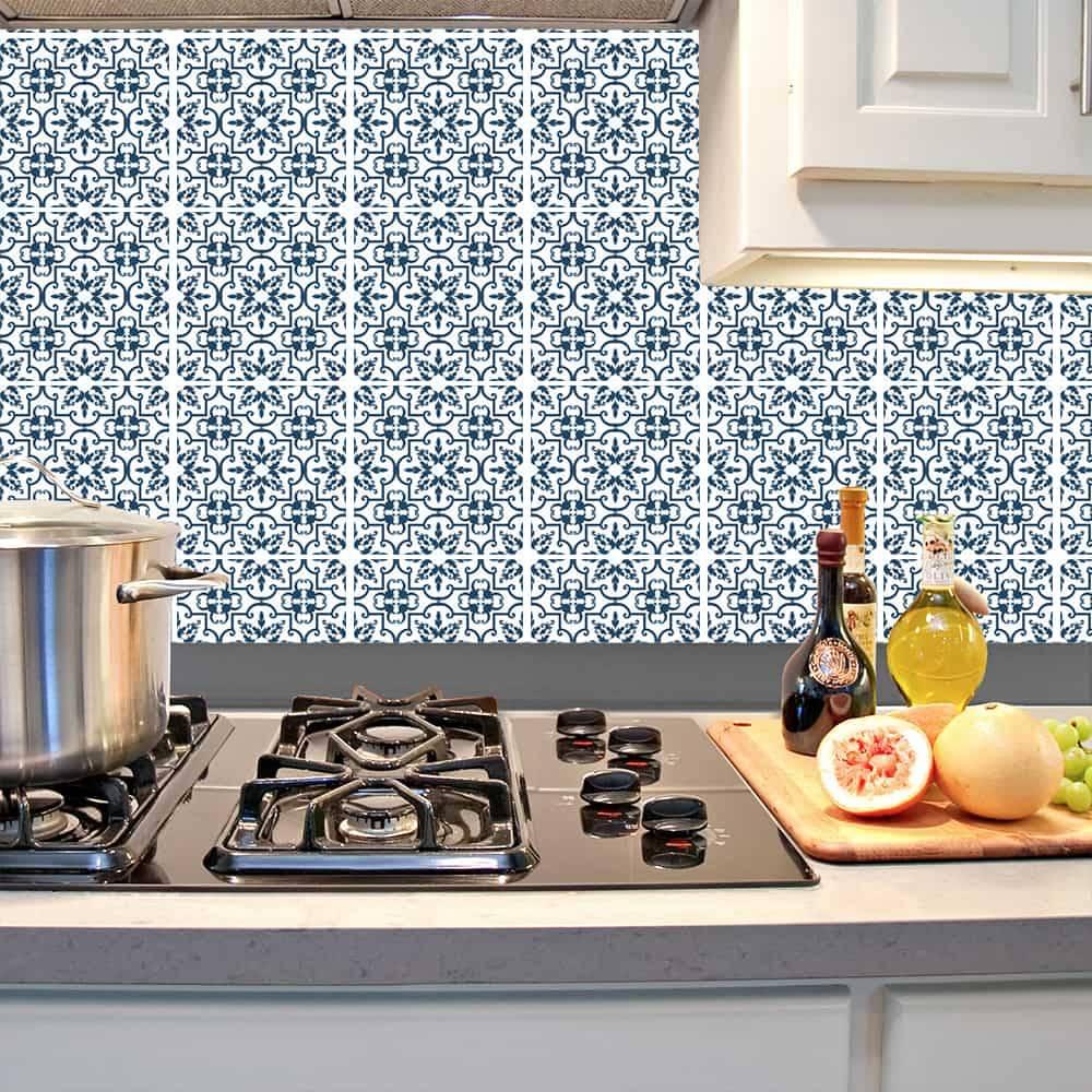 Kit Adesivo Papel de Parede para Azulejo 15-NTN15 - 49 Peças 15x15 cm - Azul Antique
