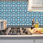 Kit Papel de Parede para Azulejo - 10x10 cm - Azul e Cinza