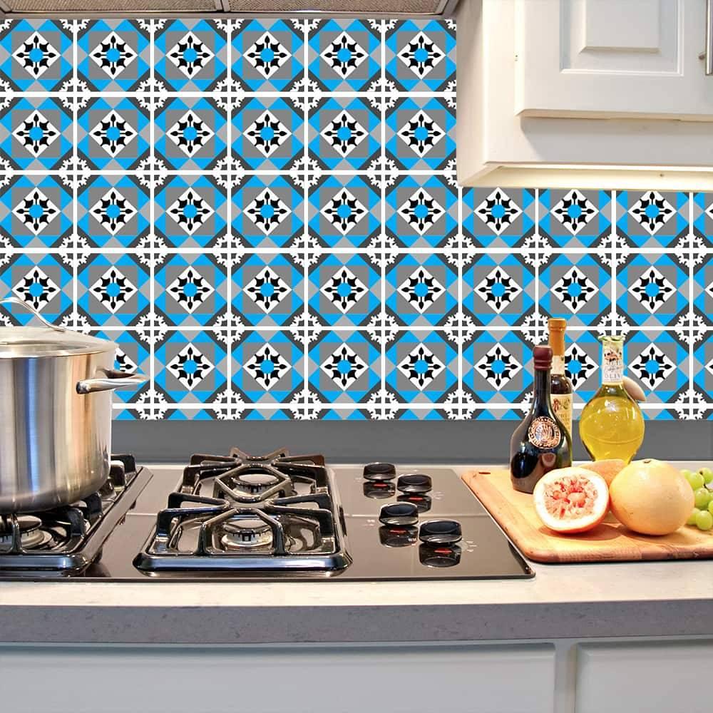 Kit Adesivo Papel de Parede para Azulejo 11-NTN11 - 100 Peças 10x10 cm - Azul e Cinza