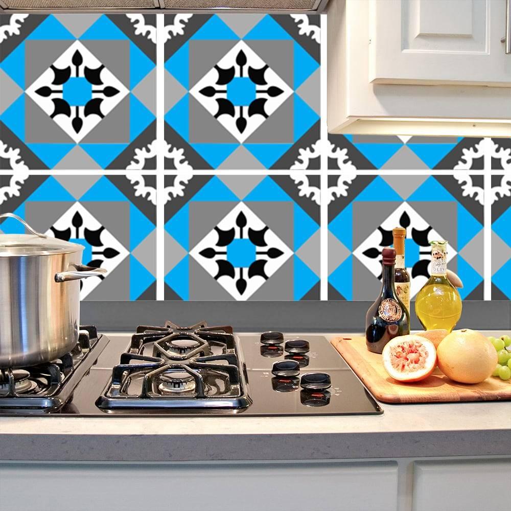 Kit Adesivo Papel de Parede para Azulejo 11-NTN11 - 16 Peças 28x28 cm - Azul e Cinza