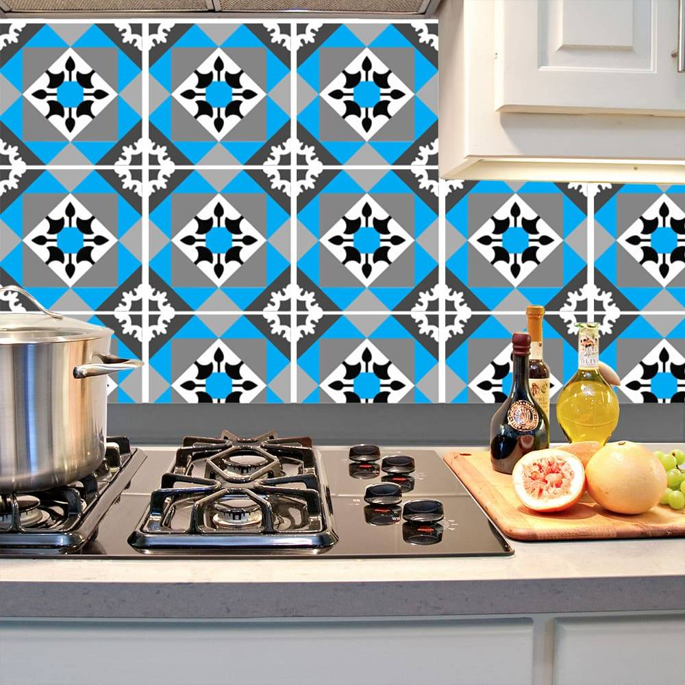Kit Adesivo Papel de Parede para Azulejo 11-NTN11 - 25 Peças 20x20 cm - Azul e Cinza
