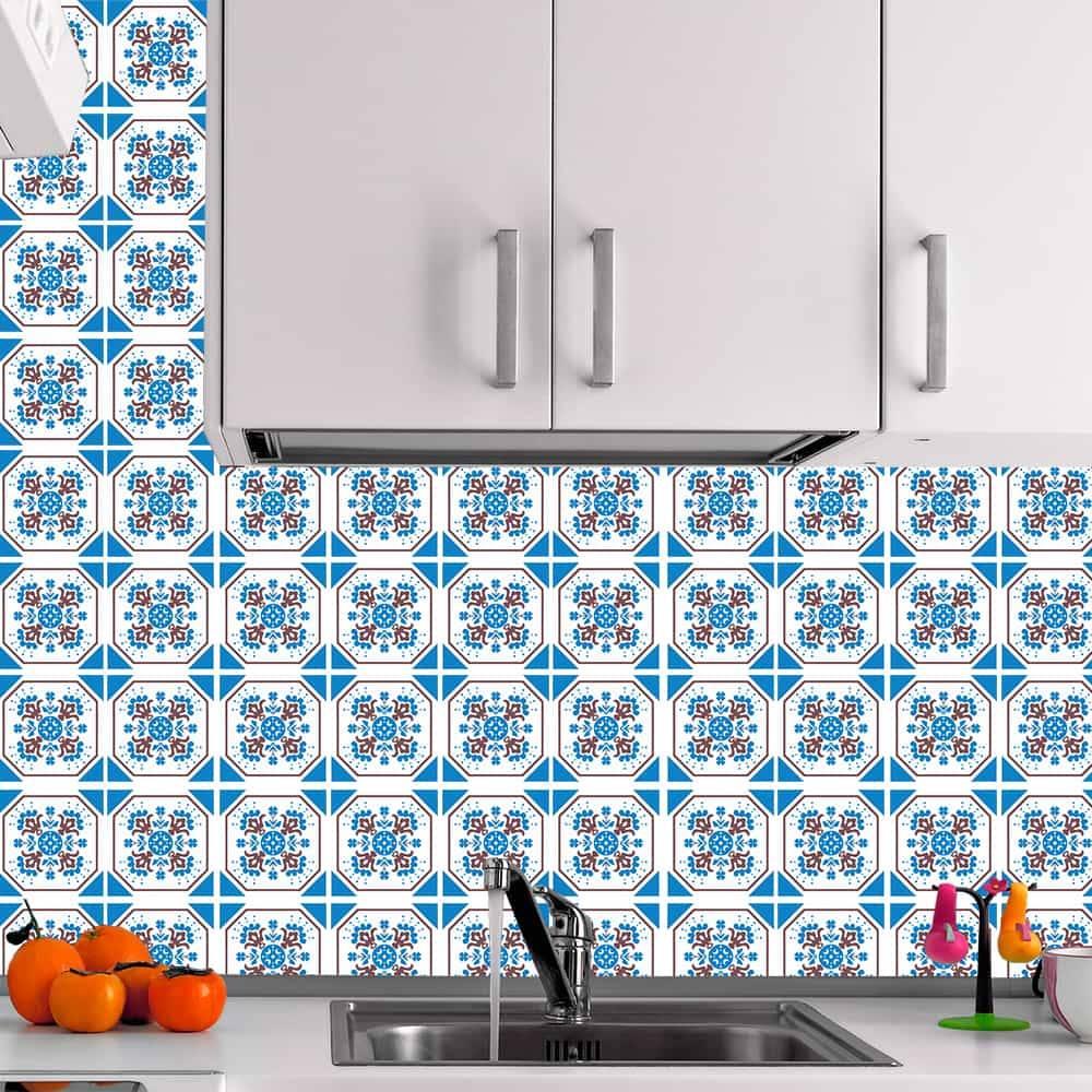 Kit Adesivo Papel de Parede para Azulejo 12-NTN12 - 100 Peças 10x10 cm - Octogonal