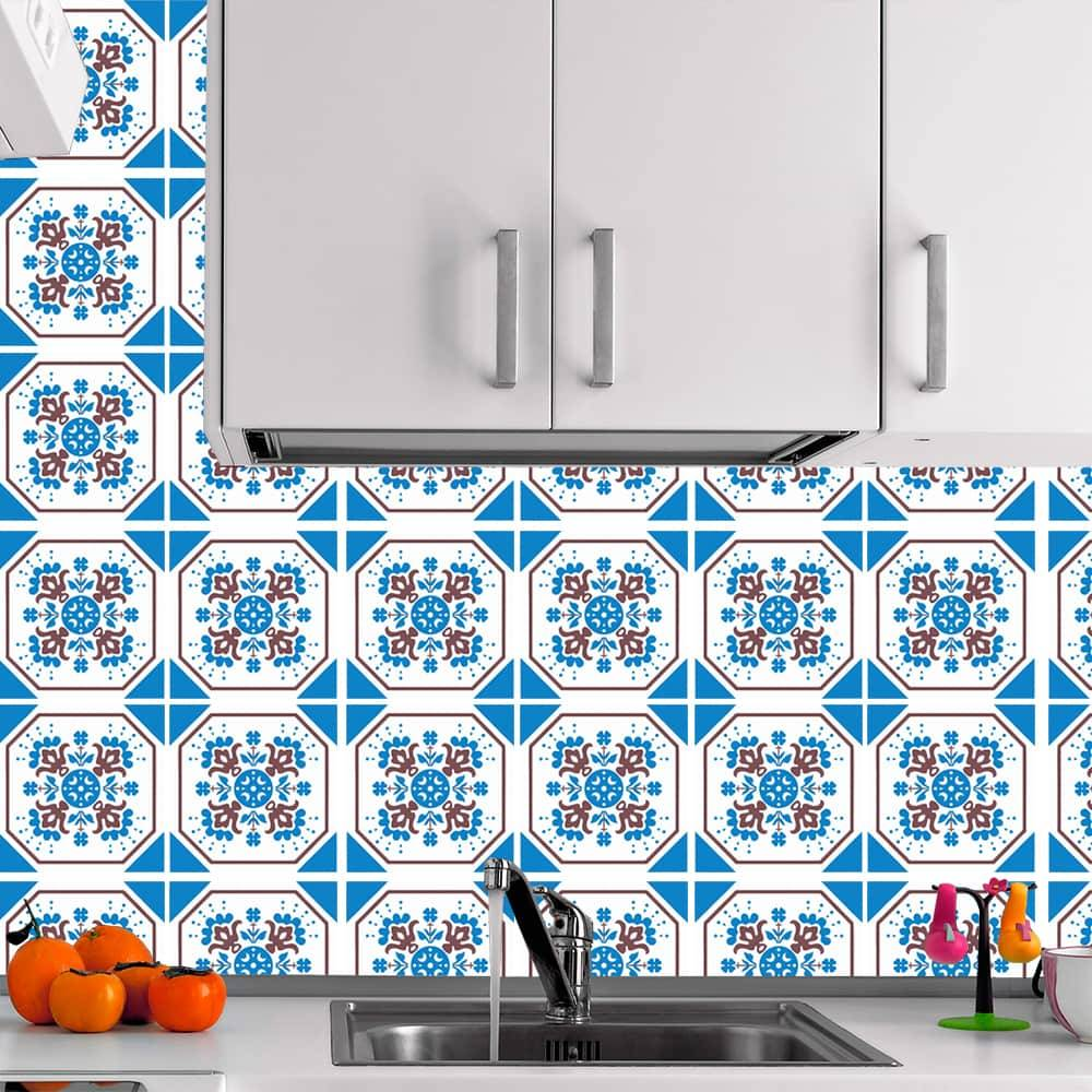 Kit Adesivo Papel de Parede para Azulejo 12-NTN12 - 25 Peças 20x20 cm - Octogonal