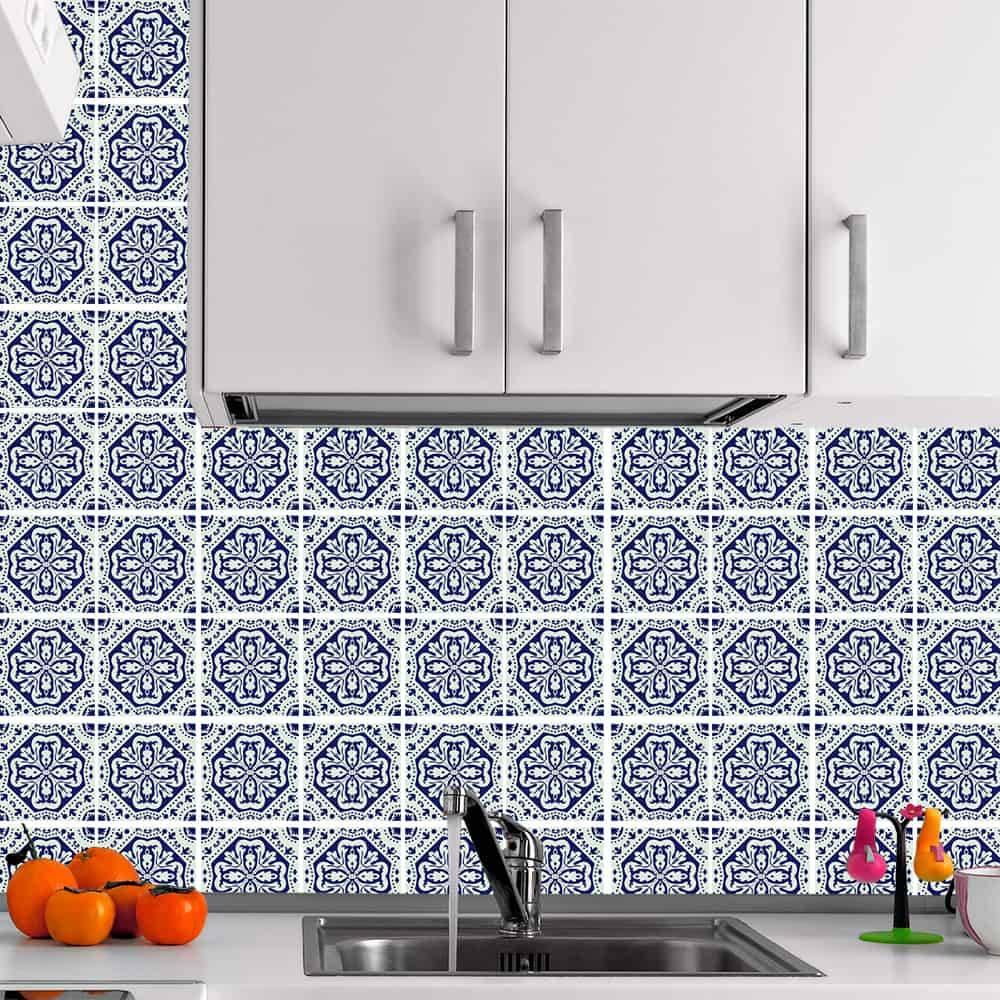 Kit Adesivo Papel de Parede para Azulejo 13-NTN13 - 100 Peças 10x10 cm - Azul