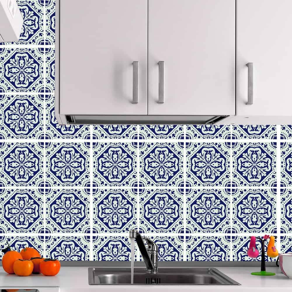 Kit Adesivo Papel de Parede para Azulejo 13-NTN13 - 25 Peças 20x20 cm - Azul