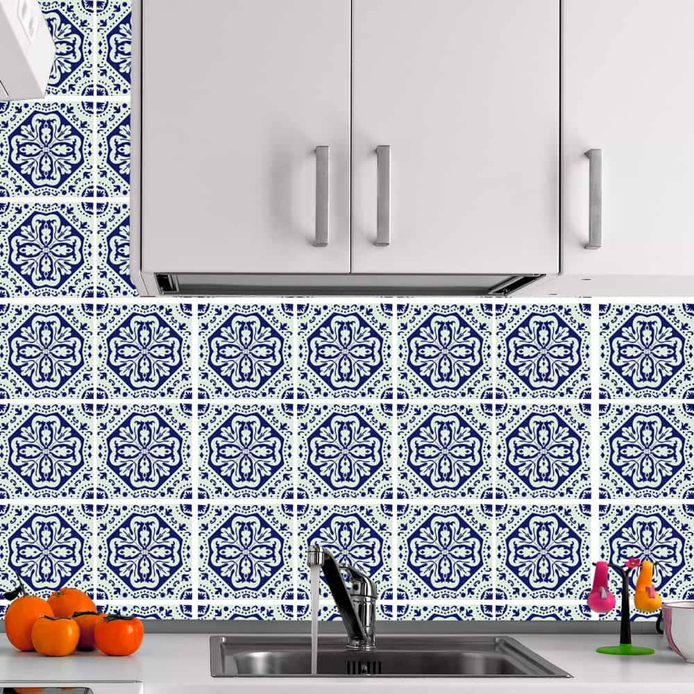 Kit Adesivo Papel de Parede para Azulejo 13-NTN13 - 49 Peças 15x15 cm - Azul