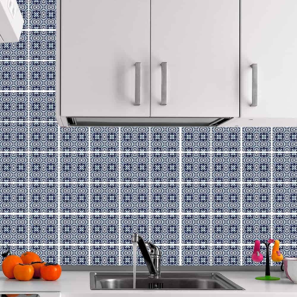 Kit Adesivo Papel de Parede para Azulejo 14-NTN14 - 100 Peças 10x10 cm - Tons de Azul