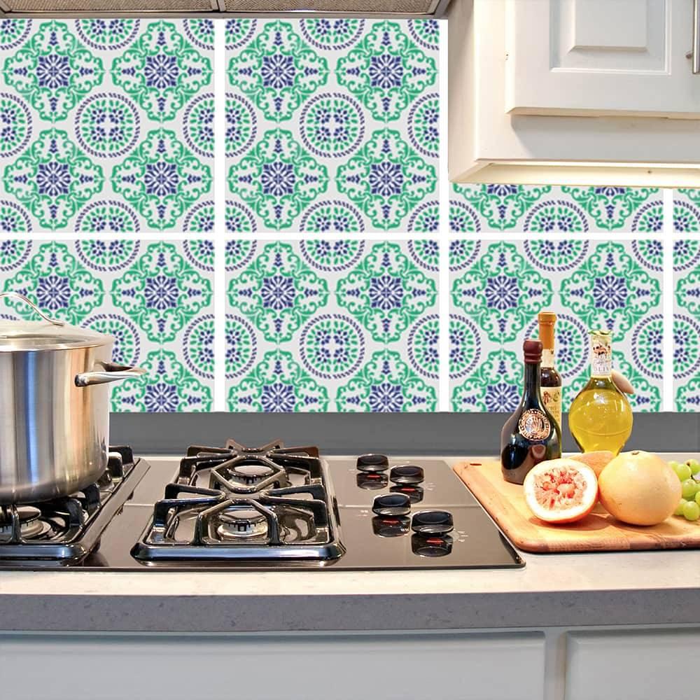 Kit Adesivo Papel de Parede para Azulejo 16-NTN16 - 16 Peças 28x28 cm - Azul e Verde