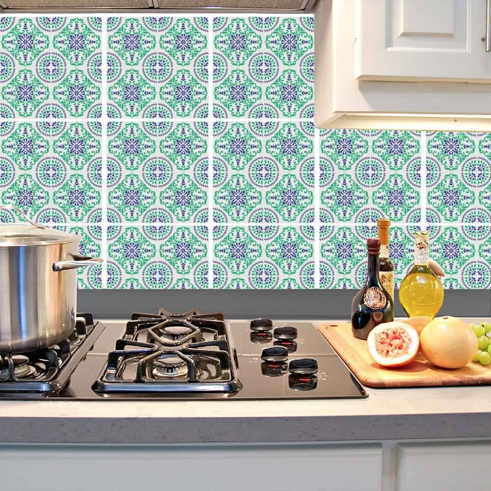 Kit Adesivo Papel de Parede para Azulejo 16-NTN16 - 25 Peças 20x20 cm - Azul e Verde