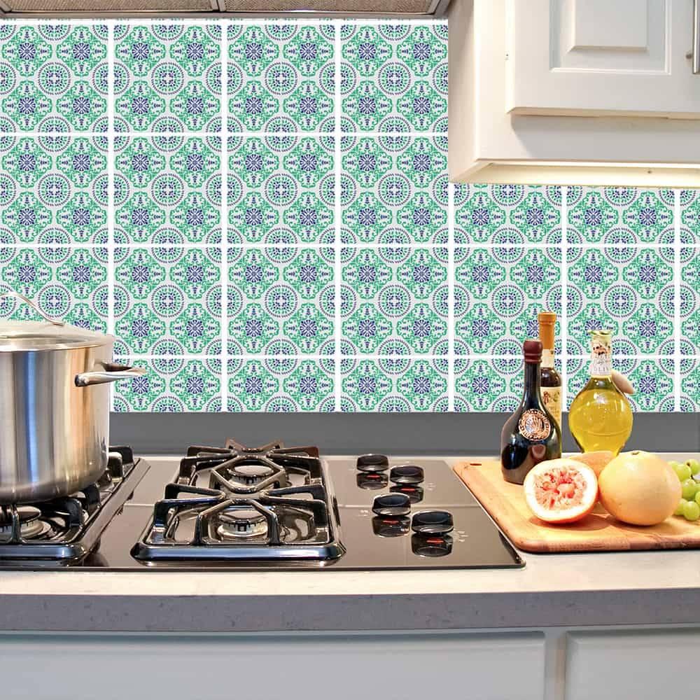 Kit Adesivo Papel de Parede para Azulejo 16-NTN16 - 49 Peças 15x15 cm - Azul e Verde