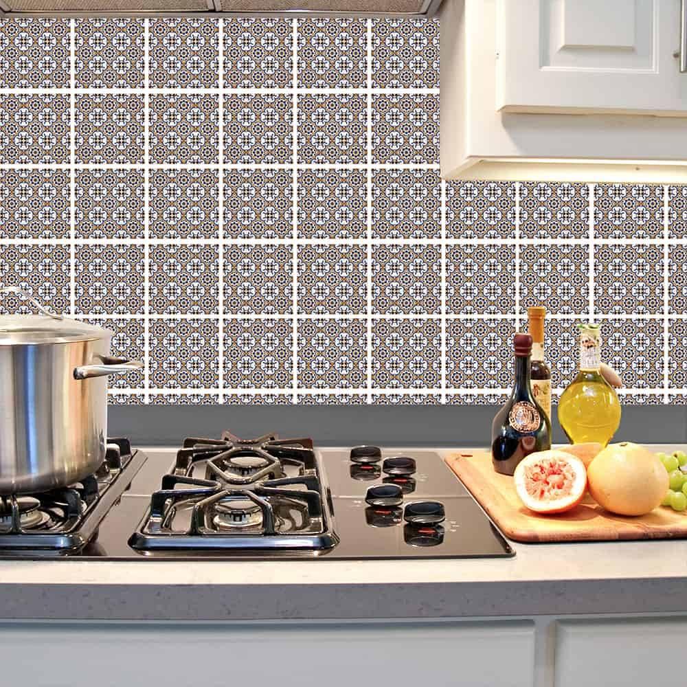 Kit Adesivo Papel de Parede para Azulejo 1-NTN2 - 100 Peças 10x10 cm - Azul e Amarelo
