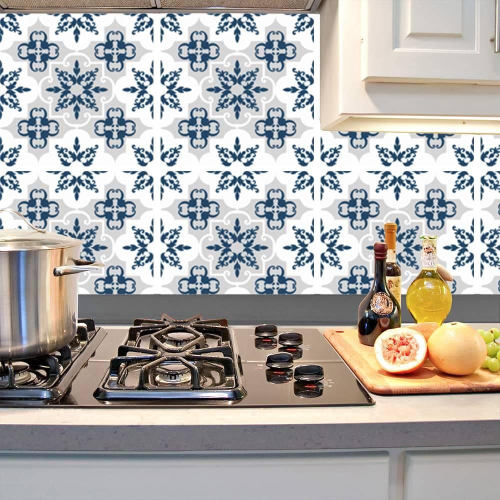 Kit Adesivo Papel de Parede para Azulejo 3-NTN3 - 16 Peças 28x28 cm - Azul e Cinza