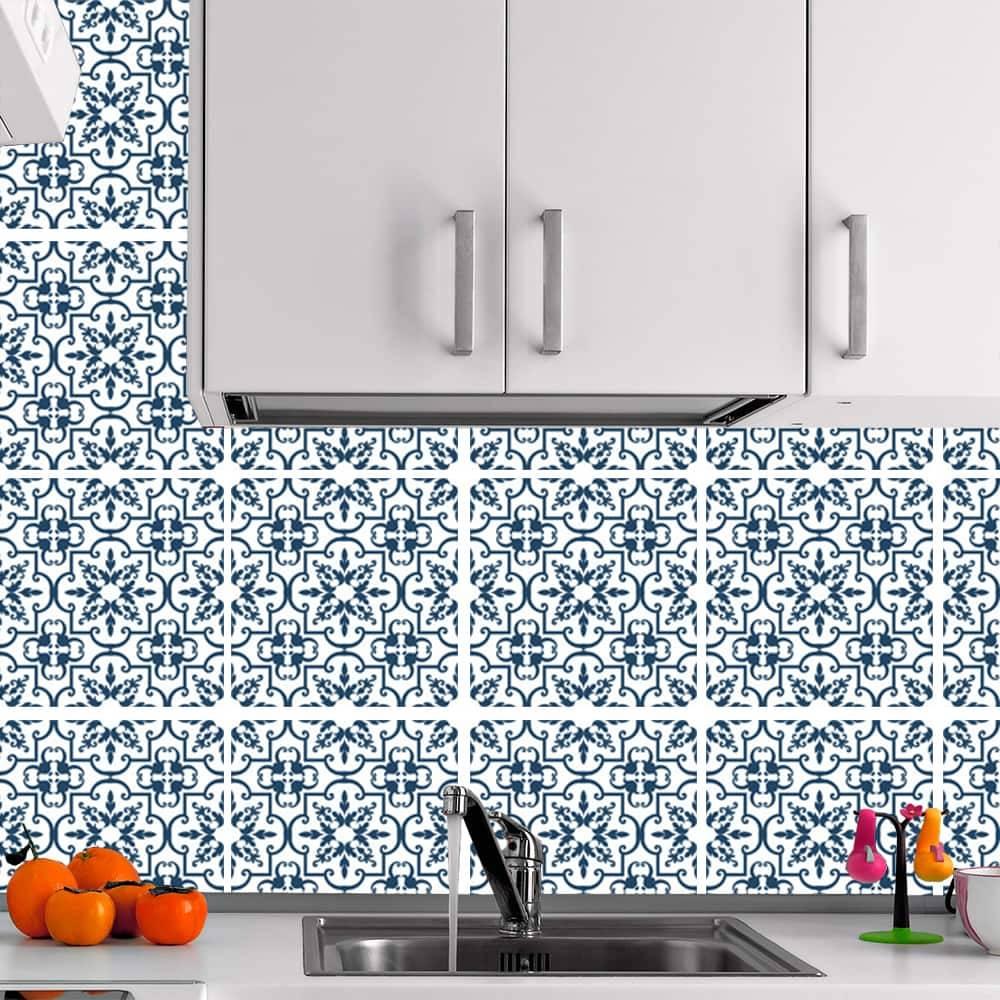 Kit Adesivo Papel de Parede para Azulejo 4-NTN4 - 16 Peças 28x28 cm - Azul e Branco