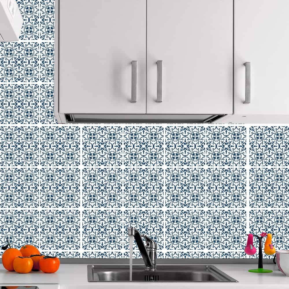 Kit Adesivo Papel de Parede para Azulejo 4-NTN4 - 49 Peças 15x15 cm - Azul e Branco