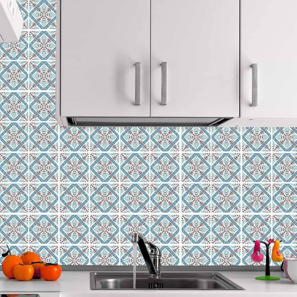 Kit Adesivo Papel de Parede para Azulejo 5-NTN5 - 100 Peças 10x10 cm - Azul e Marrom