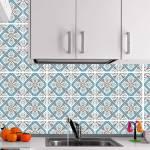 Kit Papel de Parede para Azulejo - 20x20 cm - Azul e Marrom