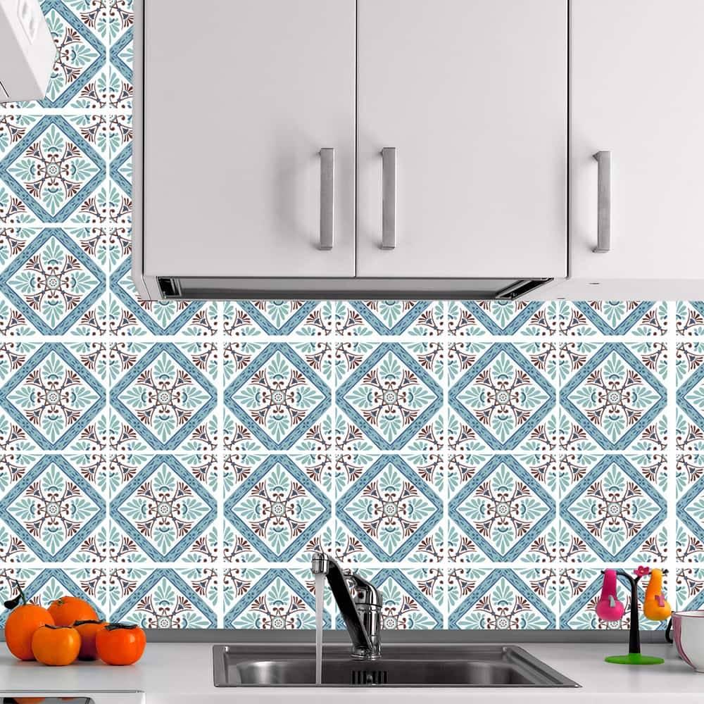 Kit Adesivo Papel de Parede para Azulejo 5-NTN5 - 25 Peças 20x20 cm - Azul e Marrom