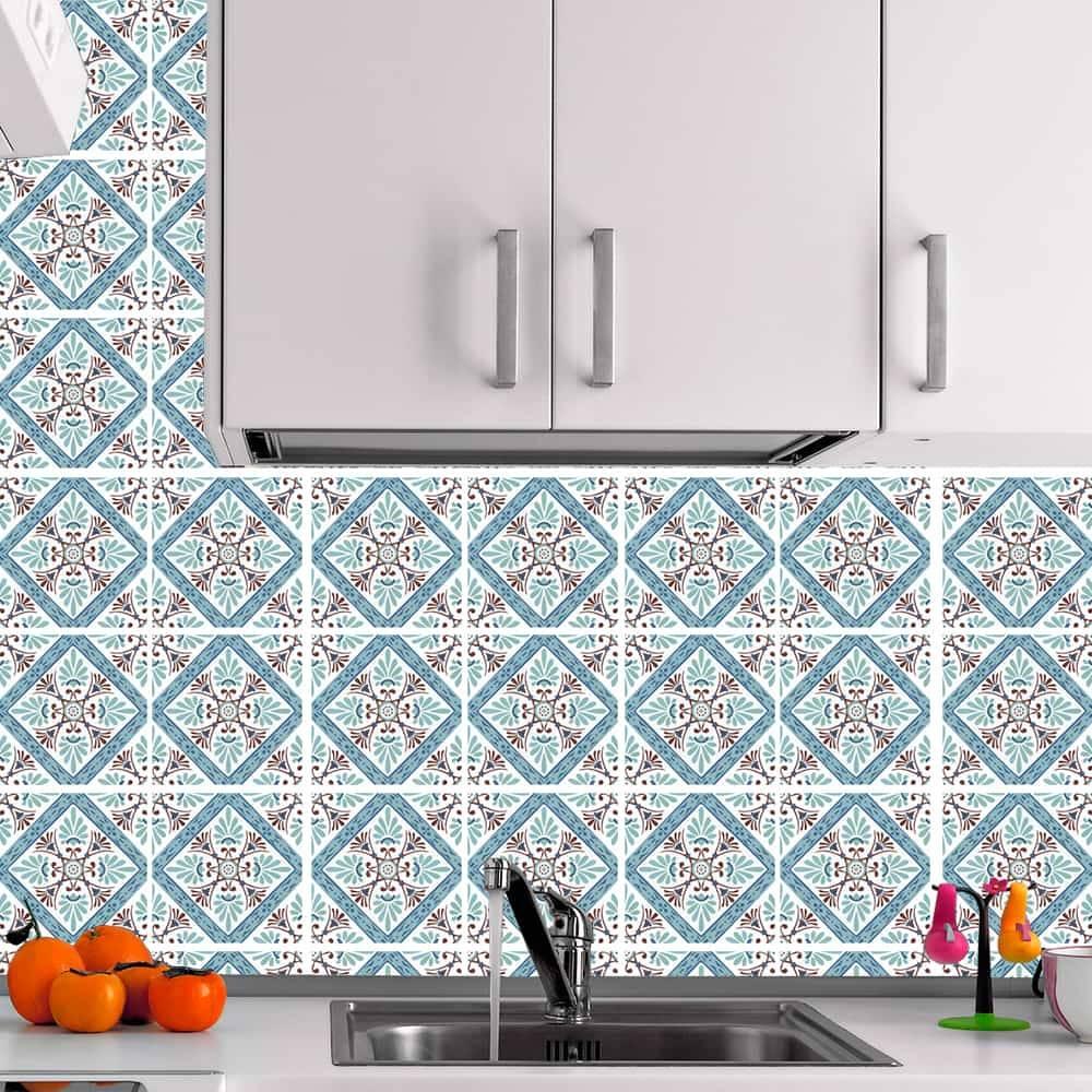 Kit Adesivo Papel de Parede para Azulejo 5-NTN5 - 49 Peças 15x15 cm - Azul e Marrom