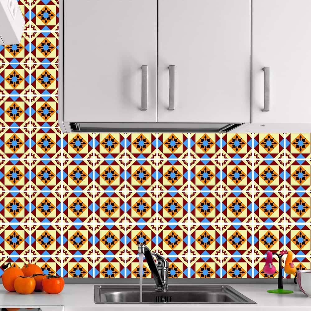 Kit Adesivo Papel de Parede para Azulejo 6-NTN6 - 100 Peças 10x10 cm - Multicolorido
