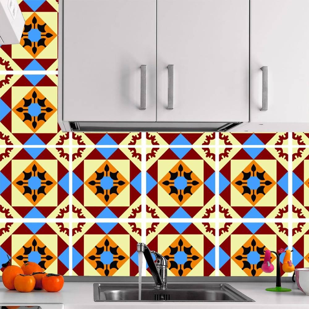 Kit Adesivo Papel de Parede para Azulejo 6-NTN6 - 16 Peças 28x28 cm - Multicolorido