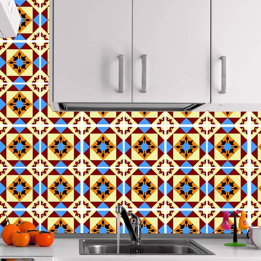 Kit Adesivo Papel de Parede para Azulejo 6-NTN6 - 25 Peças 20x20 cm - Multicolorido
