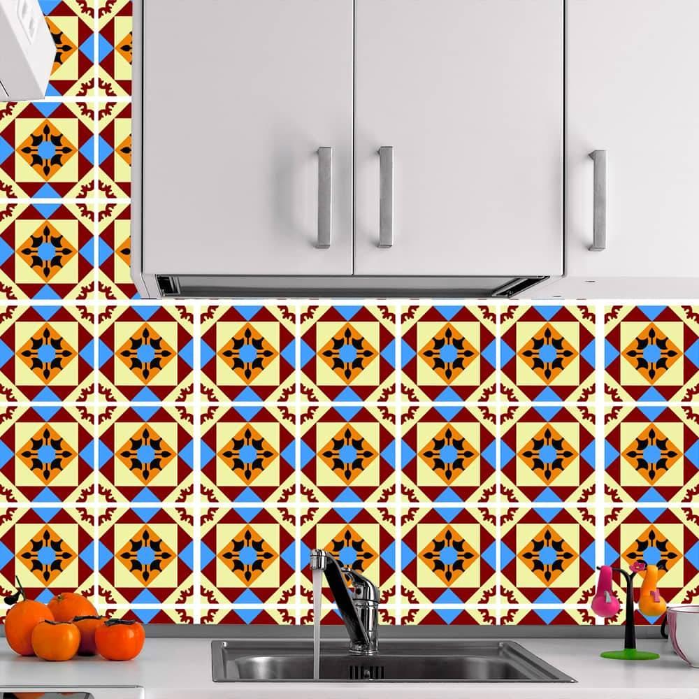 Kit Adesivo Papel de Parede para Azulejo 6-NTN6 - 49 Peças 15x15 cm - Multicolorido