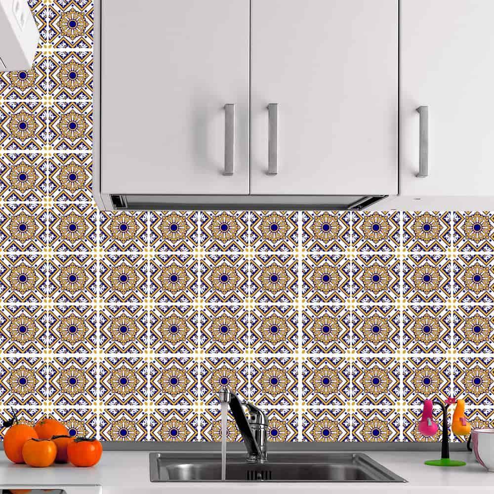 Kit Adesivo Papel de Parede para Azulejo 7-NTN7 - 100 Peças 10x10 cm - Amarelo e Azul
