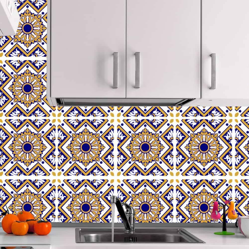 Kit Adesivo Papel de Parede para Azulejo 7-NTN7 - 16 Peças 28x28 cm - Amarelo e Azul
