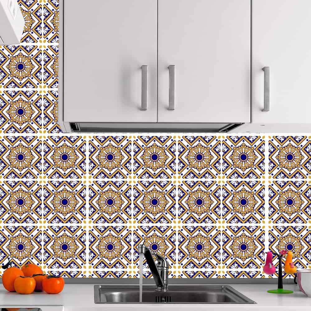 Kit Adesivo Papel de Parede para Azulejo 7-NTN7 - 49 Peças 15x15 cm - Amarelo e Azul
