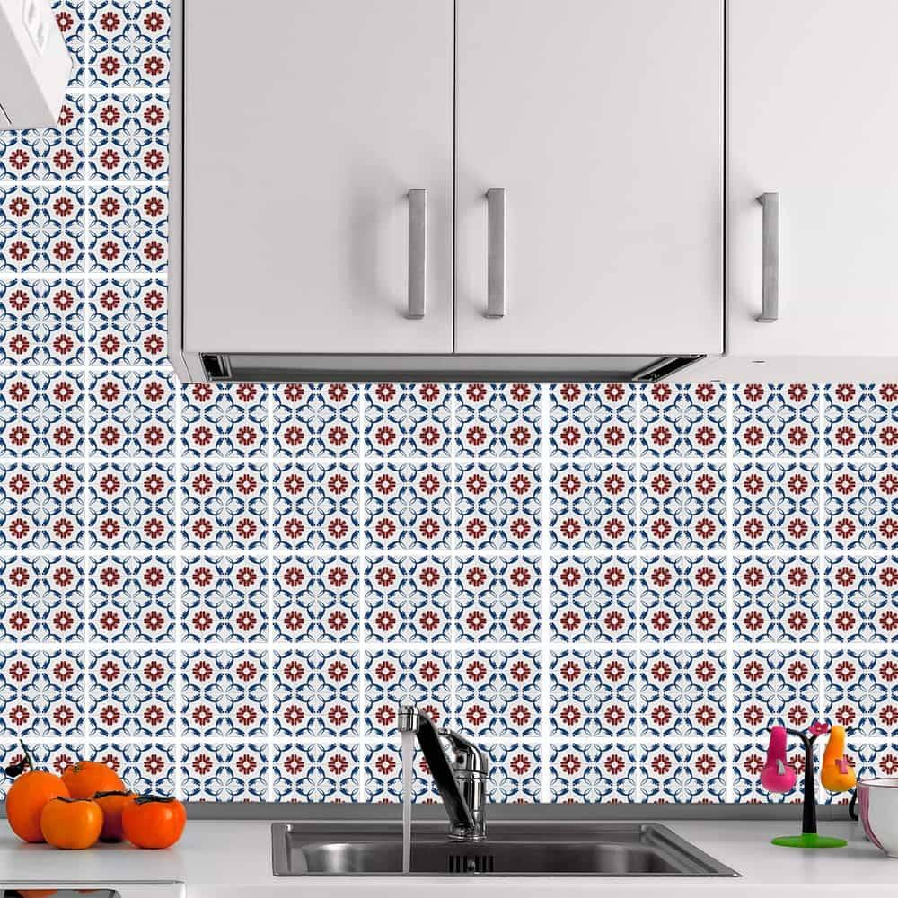 Kit Adesivo Papel de Parede para Azulejo 8-NTN8 - 100 Peças 10x10 cm - Azul e Vermelho