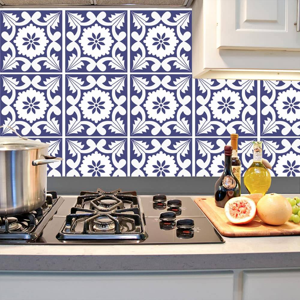Kit Adesivo Papel de Parede para Azulejo 9-NTN9 - 25 Peças 20x20 cm - Azul e Branco