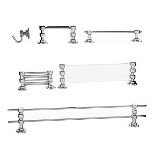 Kit para Banheiro 6 Peças - 100% Inox e Vidro - 70x10 cm